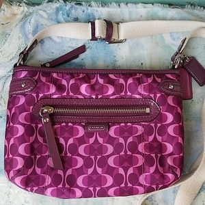 Coach Sateen and Leather Purple Crossbody Bag